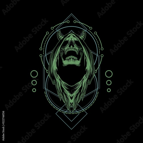 grim reaper illustration with sacred geometry Canvas Print