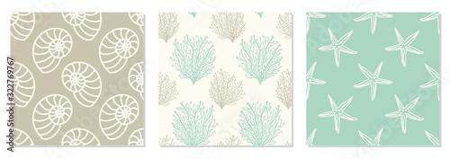 Obraz na płótnie Set of seamless patterns with hand drawn seashells, neutral colors marine theme