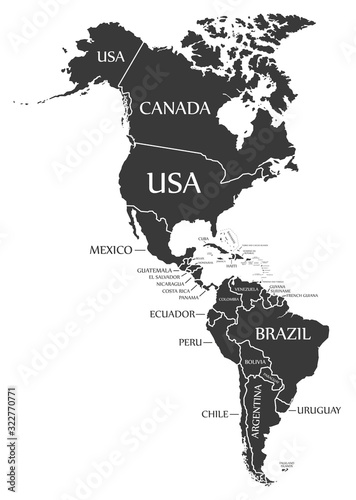 Fototapeta America continent map with countries and labels black