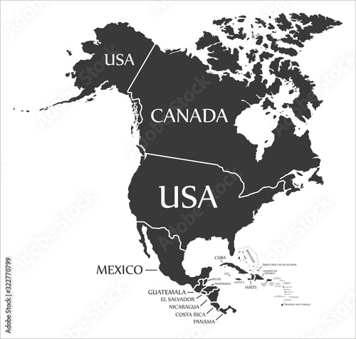 Obraz na plátně North America continent map with countries and labels black
