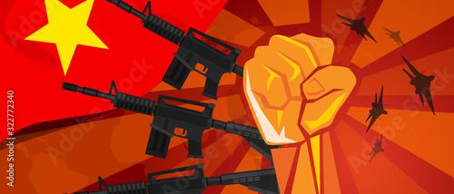 Valokuva Vietnam war propaganda hand fist strike with arm weapon plane and flag
