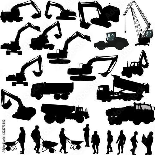 Fototapeta heavy machinery and worker silhouettes isolated on white obraz