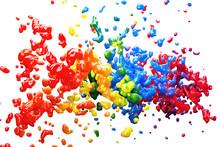 Viele Bunte Farbspritzer Als K...