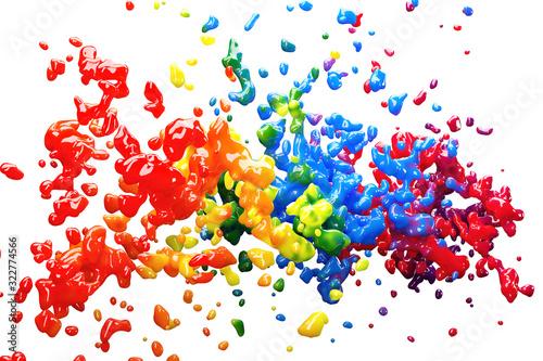 Obraz na plátně Viele bunte Farbspritzer als Kreativität Konzept