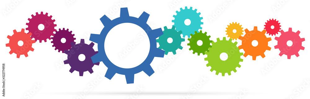 Fototapeta colored team work gears