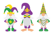 Mardi Gras Gnomes With Mask, Fleur De Lis, & Heart