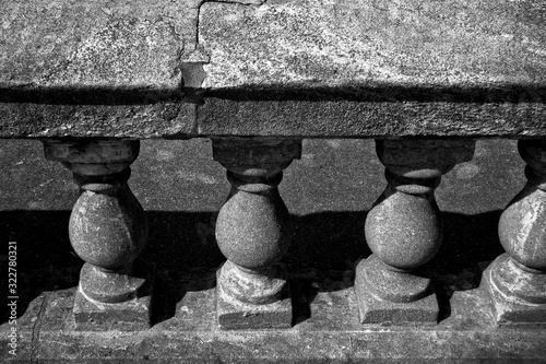 High angle shot of an old stone baluster Canvas Print