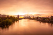 Frankfurt skyline sunset, main river view