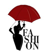 Woman Under Red Umbrella Fashi...