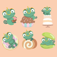 Set Of Cartoon Chameleon Cute With Dessert Cartoon..
