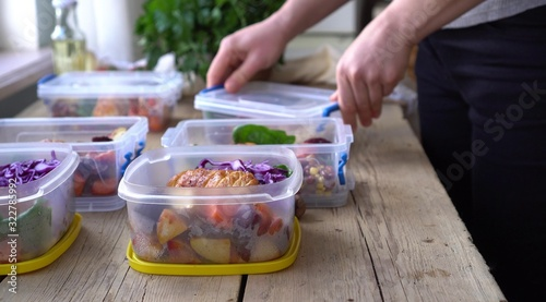 Fototapeta Weekend meal prep for weight loss. Portion Control. Healthy homemade workout food obraz