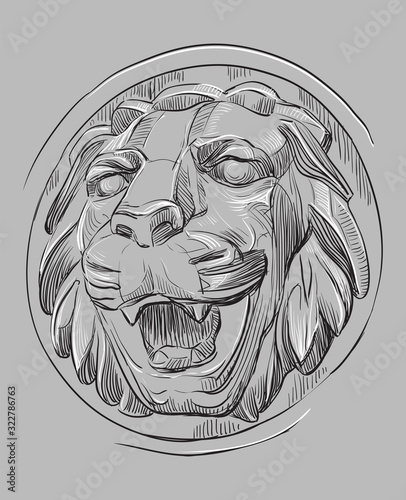 Grey vector stone head of lion Canvas-taulu