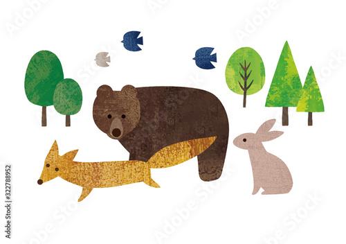 緑の木と動物達水彩 Fototapet