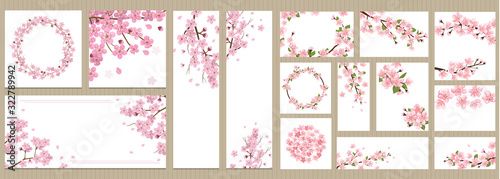 Set of greeting cards, banners and invitation card with blossom sakura flowers Canvas Print