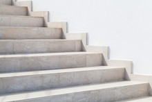 Empty Stone Stairway Near White Wall, Abstract Photo