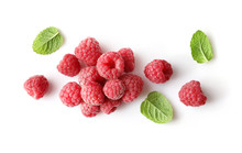 Ripe Rasberries And Mint Isolated On White Background. Top View