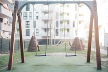 Swing Set In A Backyard. Child...