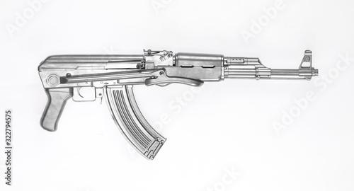 Photo silver Kalashnikov AK-47 assault rifle isolated on white background