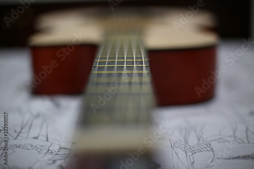 macro das cordas de um violão Canvas Print