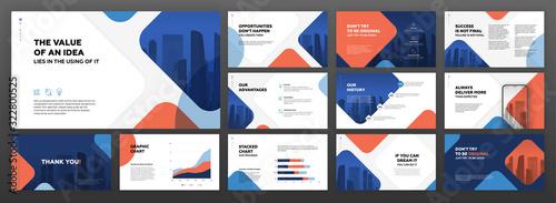 Fototapeta Powerpoint business presentation templates set. Use for modern presentation background, brochure design, website slider, landing page, annual report, company profile. obraz
