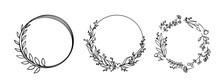 Vector Circle Graphic Frames. Wreaths For Design, Logo Template.