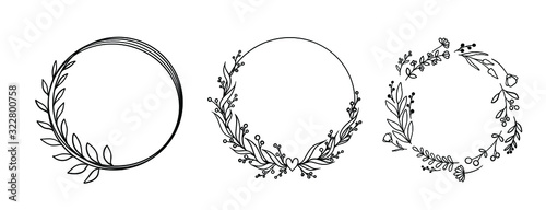 vector circle graphic frames. Wreaths for design, logo template. Canvas-taulu
