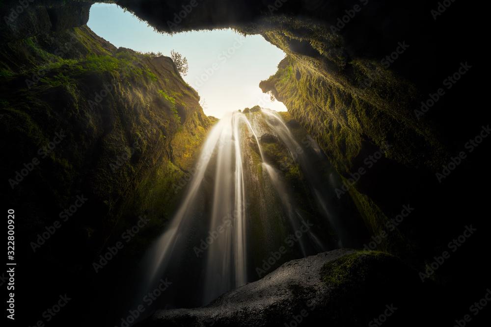 Fototapeta Beautiful peculiar waterfall in Iceland