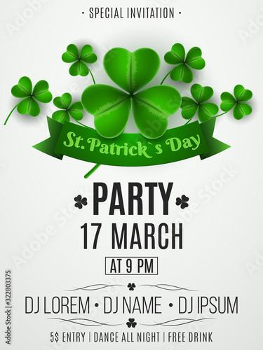 Stampa su Tela Patrick's day party flyer