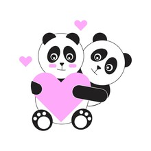 Cute Panda On Valentine's Day, Which Is Full Of Love