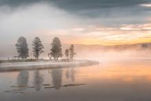 Morning Fog At The Yellowstone Lake. Yellowstone National Park, Wyoming USA