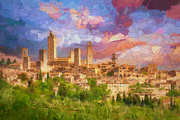 Amazing landscape view of San Gimignano is a small walled medieval hill town during colorful evening sunset in summer time, Tuscany, Italy.- oil painting