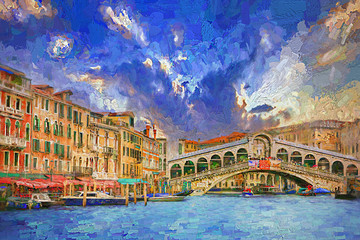 Stunning afternoon landscape of Grand canal and Bridge Rialto during beautiful summer sky, tourists from over the world visiting famous architecture and landmarks in Venice, Italy.- oil painting
