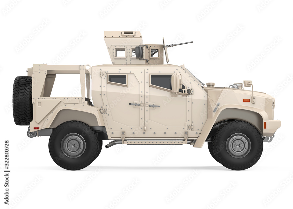 Fototapeta Humvee High Mobility Multipurpose Wheeled Vehicle Isolated