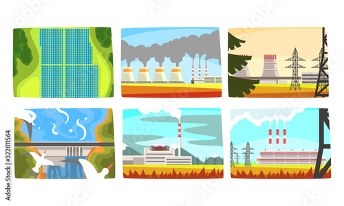 Fototapeta Traditional and Innovative Ecological Energy Generation Power Stations Collection, Hydroelectric Power Station, Electricity Generation Plants, Solar Panels Vector Illustration obraz