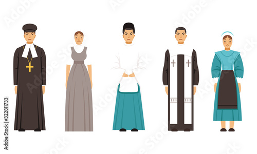 Religion People Characters in Traditional Clothes Collection, Mormon, Shinto Pri Canvas Print