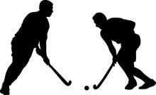 Silhouette Of Two Field Hockey...