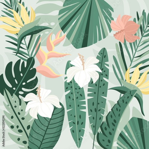 Obraz Tropical background. Vector jungle illustration. Greenery, palm leaves, banana leaf, hibiscus, plumeria flowers. - fototapety do salonu