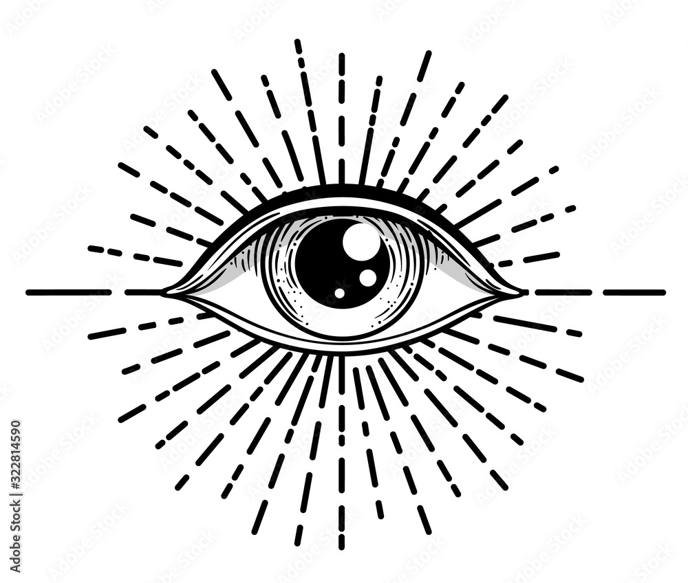 Fototapeta Blackwork tattoo flash. Eye of Providence. Masonic symbol. All seeing eye inside triangle pyramid. New World Order. Sacred geometry, religion, spirituality, occultism. Isolated vector illustration