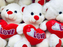 White Teddy Bear With Red Hear...
