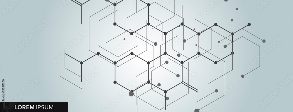 Fototapeta Vector network hexagon and connected cells background