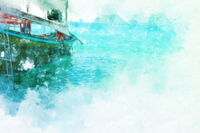 Abstract Colorful Fishing Boat...