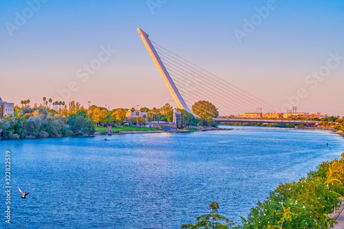 The modern Puente del Alamillo bridge in Seville, Spain