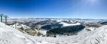 Panoramic View Of Wasatch Mountains At Deer Valley Ski Resort From Near The Top Of Empire Lift.