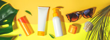 Sunscreen. Prevention Of Photoaging. Flat Lay, Natural Cosmetics SPF For Face, Body. Concept Summer Vacation. Banner