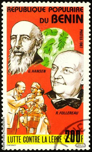 Photo Norwegian physician Gerhard Hansen and French journalist Raoul Follereau