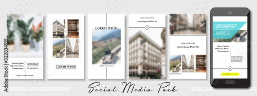 Fototapeta social media banner. Set of beige pastel stories and post frame photo templates. Vector cover. Endless puzzle layout for promotion. Design blur wallpaper web pack. Mockup for personal blog, shop. a4 obraz