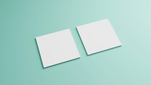 White Square Shape Business Card Mockup Stacking On Green Mint Pastel Color Table Background. Branding Presentation Template Print. 2.5 X 2.5 Inch Paper Size Cover. 3D Illustration Rendering