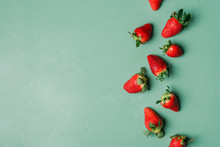 Ripe Strawberries Pile On A Gr...