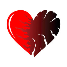Two Halfs Of Red Cracked Heart...