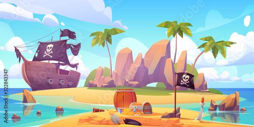 Obraz na plátně Pirate buries treasure chest on island beach